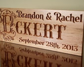 5th Anniversary Gift, Personalized Wooden Established Sign, Benchmark Custom Signs Cherry TJ