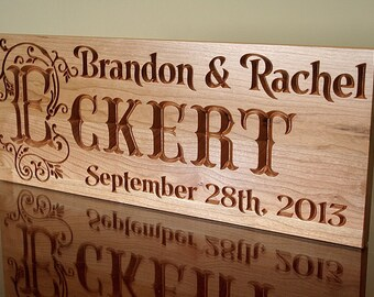 Engagement Date Sign, 5 Year Anniversary Gift, Parents Anniversary Gift, Carved Wooden Sign, Benchmark Custom Signs, Cherry TJ