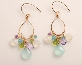 Gold Hoop Earrings, Gemstone Hoop Earrings GEmstone Dangle Earrings, Healing Gemstone Jewelry