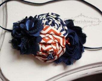 Navy and Orange headbands, orange headbands, newborn headband, navy headband, photography prop