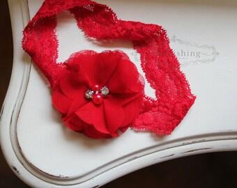 Red Chiffon Flower headbands, lace flower headbands, holiday headbands, newborn headbands, photography prop