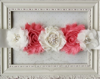 Coral and Ivory Maternity Sash, Belly Bands, Bridal Sashes, Coral Wedding Sash, Newborn Sash, Photography Prop