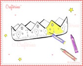 Printable Color & Create Crown Kit - PDF - Coloring Page - Craft Activity - Kids
