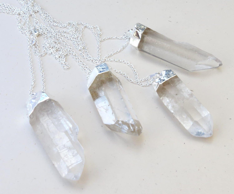 large crystal quartz point necklace rock crystal necklace. Black Bedroom Furniture Sets. Home Design Ideas