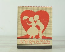 1930s Valentines Card XL Silhouette Parasol Victorian Boy And Girl  Candy Holder EB1