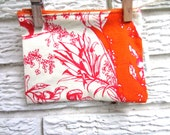 Modern Orange Upcycled Zipper Bag with Brown Flannel Lining. Stocking Stuffer / gifts under 25 / Owls / Mushrooms/ Mouse / Leaves / Nature
