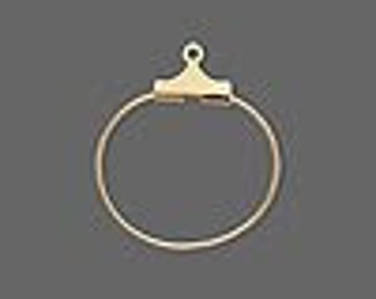 Earring beading hoop, Gold plated, 20mm round.  4 per pack