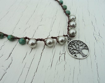 Crocheted Necklace, Silver Tree Pendant, Pearl Necklace, Boho Bohemian, Rustic Tree of Life Necklace, Beaded Crochet. turquoise and Silver