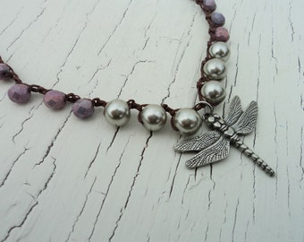 Crocheted Dragonfly Necklace, Purple and SIlver Pearl Necklace, Dragonfly pendant, Boho Bohemian Chic, Crocheted Jewelry, Dragonfly Jewelry