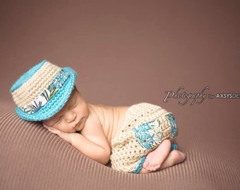 Newborn Fedora Hat and Shorts Set-Aloha Fedora in Blue-Summer-Baby Photo Prop