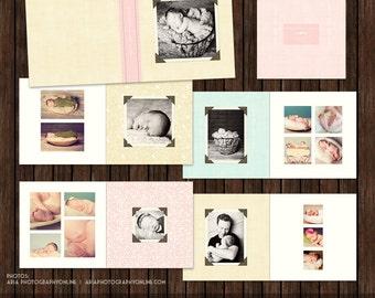 12x12 Layflat Album, Newborn Album, Girls Album - Vintage Style - AL6