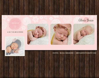 INSTANT Download Birth Announcement Facebook Timeline Cover - FB39