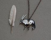 Gemsbok Necklace / African Antelope / Metallic Collection / Minimal  / Silver / Africa / Unusual Animal
