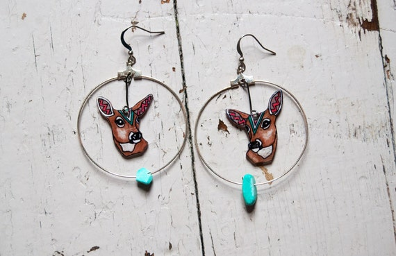 SALE Deer Earrings / Doe / Chevron Earrings / Hoop Earrings / Turquoise / Woodland Animal / Zig Zag / Shrink Plastic Jewelry