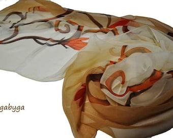 Beige silk scarf Hand Painted  silk scarf Hand Painted silk Chiffon scarf Woman silk scarf Silk scarf painted by hand Silk  scarf by Gabyga