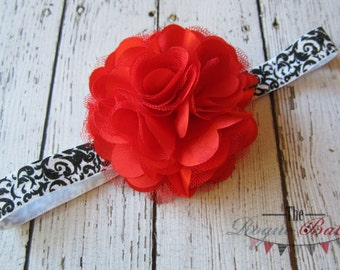 Black & White Damask Headband with Red Satin Tulle Flower  -  Baby Infant Toddlers Girls Women