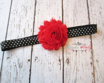 Black White Polka Dots with Red Flower Headband - Baby Newborn Infant Toddlers Girls Women