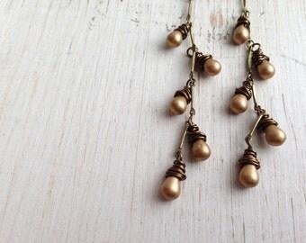 Matte Gold Teardrop Long Chain Earrings, Dangle Earring, Wire Wrapped, Simple Drop Earrings
