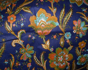 Navy Blue Floral Fabric, Decorative Fabrics, Coral/Turquoise/OrangeGreenFabric, Screen Print Chetley Original Fabric 36 Length'' 50'' Width