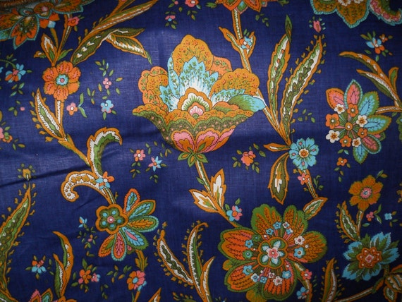 Navy Blue Floral Fabric, Decorative Fabrics, Coral/Turquoise/OrangeGreenFabric, Screen Print Chetley Original Fabric 36 Length'' 50'' Width