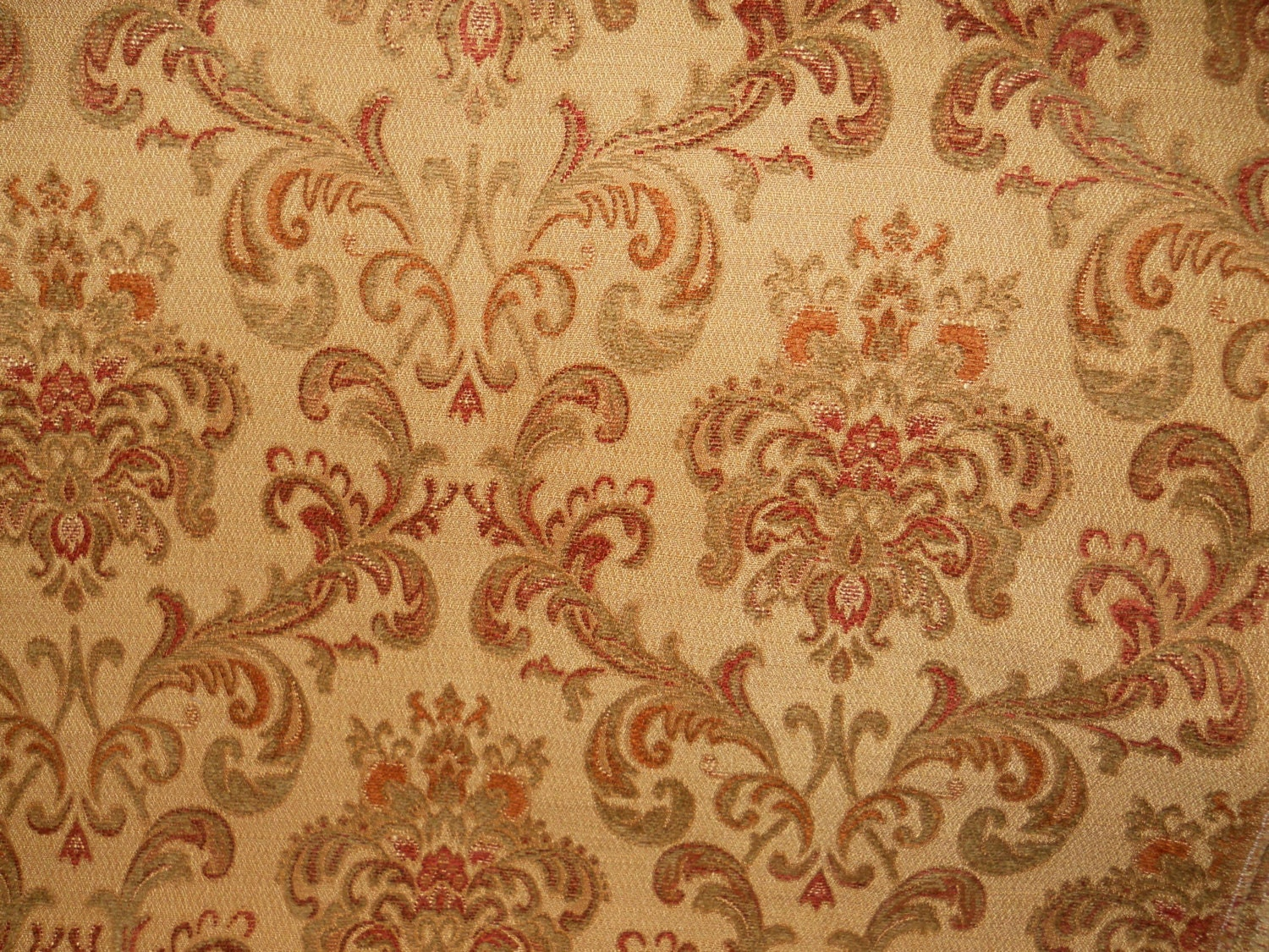 Tapestry upholstery fabric rust green tan floral fabric for Floral upholstery fabric