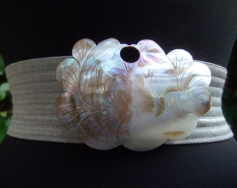 Carved Mother of Pearl Bird Buckle Belt c 1980