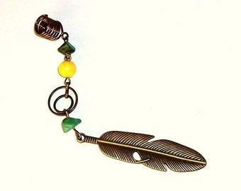 Dreadlock Jewelry - Turquoise and Brass Feather Charm Loc Jewel