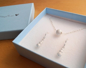 Bridesmaid Gift Set - Silver Necklace & Earrings - Sterling Silver