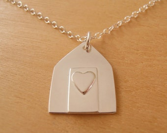 Silver Beach Hut Necklace - Sterling Silver