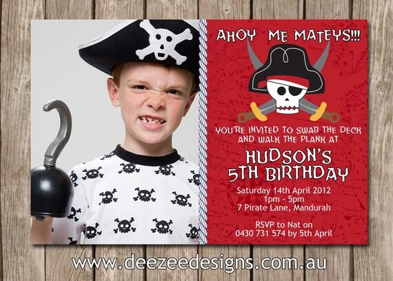 Photo Personalised Boy's Pirate Birthday Invitations - You Print