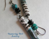 Tiger Stripe Turquoise: Long, Lean Dangle Earrings with Scorched Earth Porcelain and Genuine Turquoise Nuggets