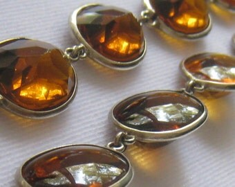 CLEARANCE Sterling Silver & Faceted Bourbon Color Glass Art Deco Vintage Necklace.  Deep Oval Gems Reverse to Mildly Domed on other side.
