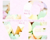Valentine's Day - Typography- LOVE - Candy Hearts Photograph - Hearts - Romantic - Candy - Fine Art Photography Print - Pastel Home Decor