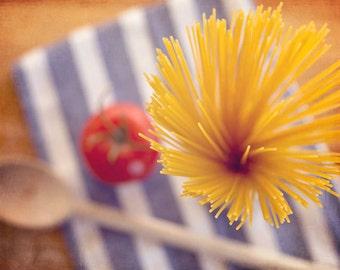 Food Photography - Kitchen Art - Pasta - Italian - Spaghetti - Fine Art Photography Prints - Blue Gold Red Kitchen/Dining Room Decor