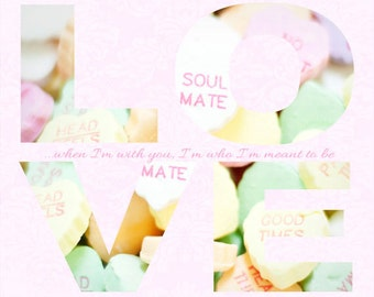 Anniversary Gift - Typography- LOVE - Candy Hearts Photograph - Hearts - Romantic - Candy - Fine Art Photography Print - Pastel Home Decor