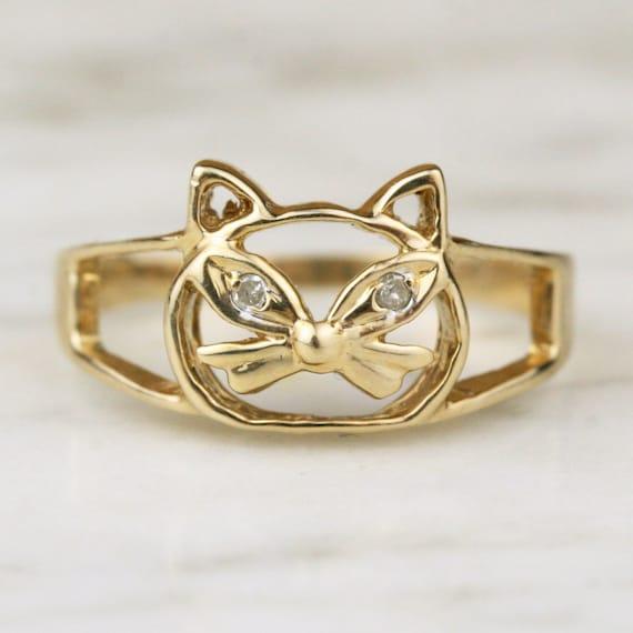 vintage 10k gold cat ring