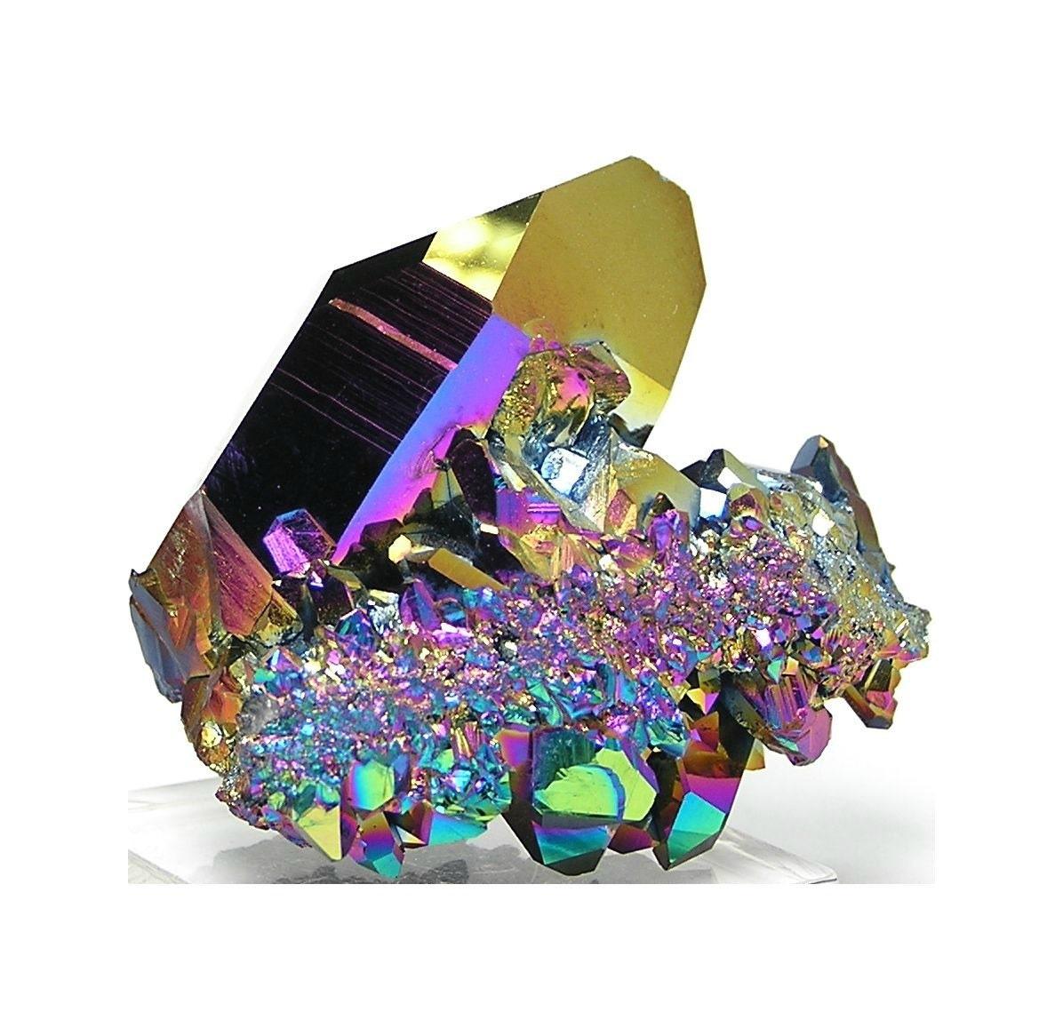 Rainbow Quartz Stone : Rainbow aura peacock quartz crystal cluster from arkansas