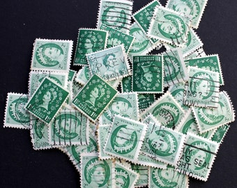 50 International Vintage Stamps of Queens - shades of Green (lot 27)