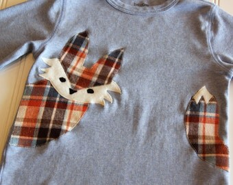 Fox Shirt, Plaid Fox Shirt, Fox Baby, Woodland Shirt