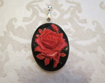 Red Rose Cameo Pendant
