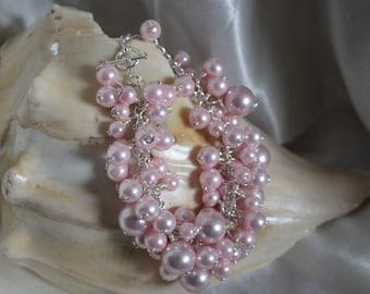 Pink Glass Pearl Bracelet