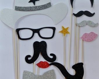 11 Western Photo Booth wedding photo booth mustache on stick mustache bash pipe golden star