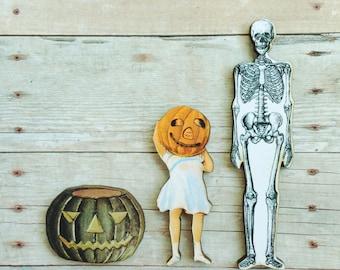 Skeleton Pumpkin Halloween Brooch