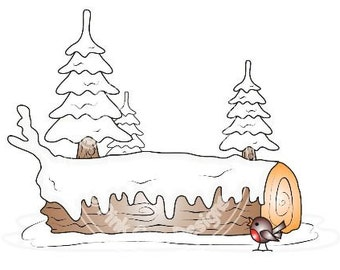 Digital (Digi) Yule Log Character Background  Stamp. Makes Cute Christmas Cards