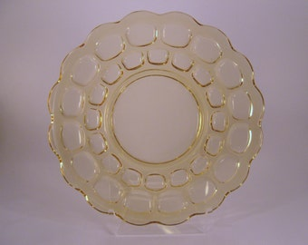 Vintage Clear Yellow Glass Thumbprint Plate, Pressed Glass