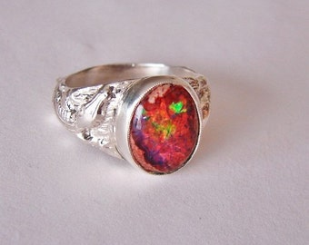 925 Sterling Silver Red Opal  Alligator  Ring