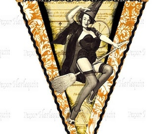 WITCH Banner Download Instant Party Decor Saucy Hollywood Halloween Pin-Ups