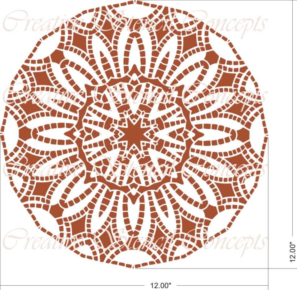 Decorative Round Mandala Design Stencil Ceiling Medallion