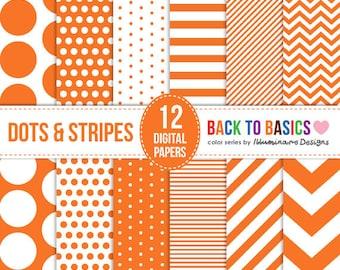 Orange Digital Paper: Halloween Scrapbooking Paper Pack, Polka Dots, Stripes, Chevron Pattern - Back to Basics Series - Commercial Use
