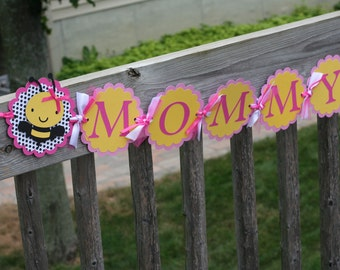 Pink and Yellow Bumble Bee Mommy to Bee Baby Shower Banner, Mother to Bee, Mommy to Bee, Bee Baby Shower